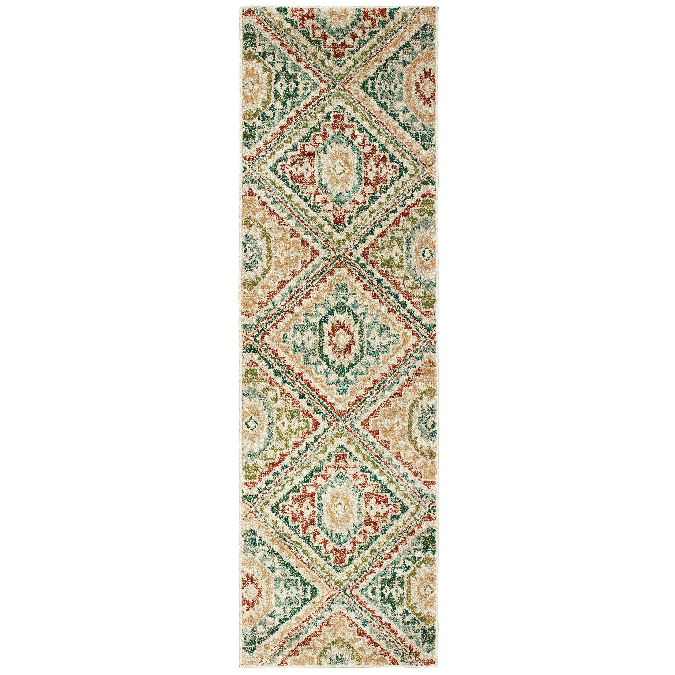 Hedberg Tribal Ivory/Green Area Rug Rug Size: Rectangle 9'10