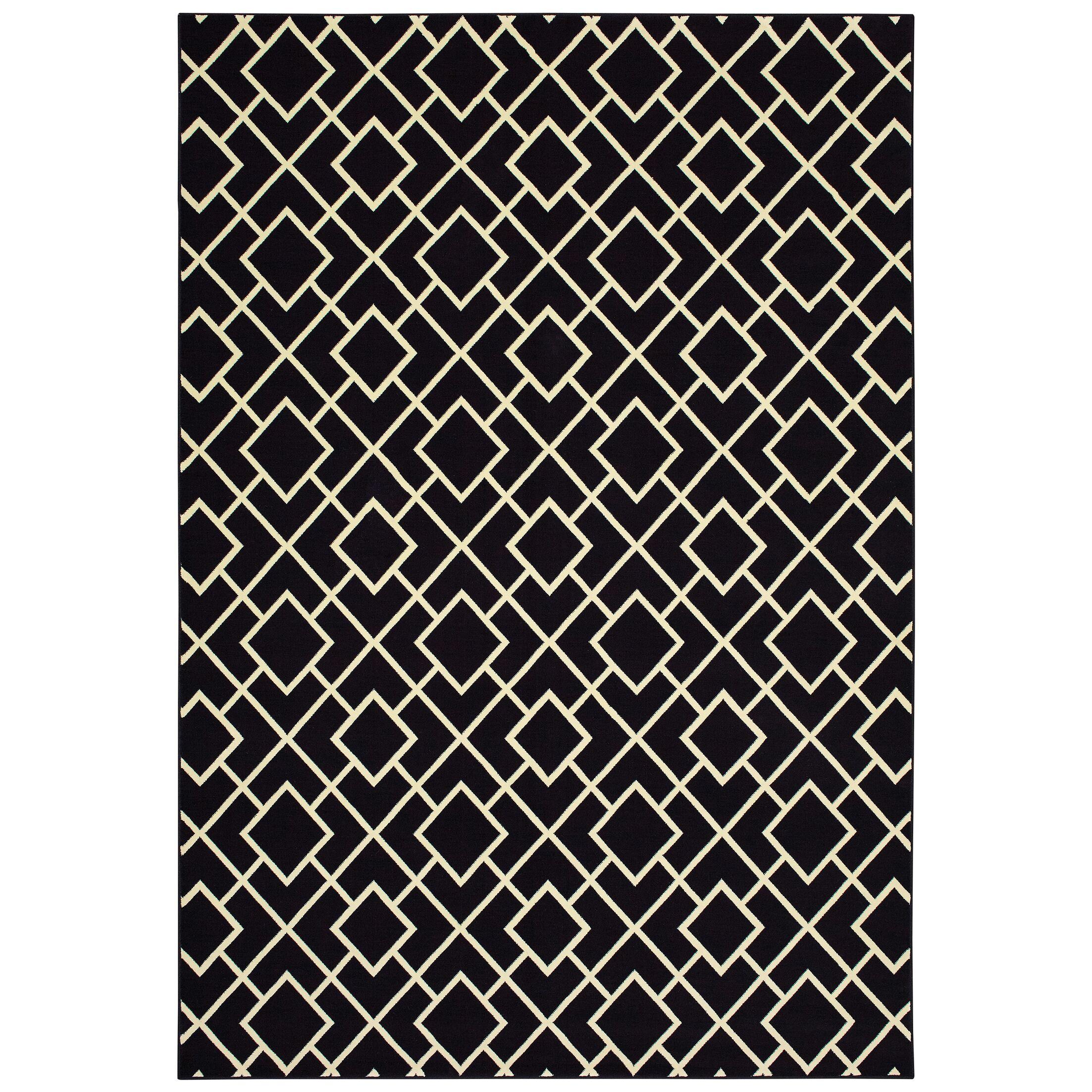 Hedden Lattice Black/Beige Area Rug Rug Size: Rectangle 7'10