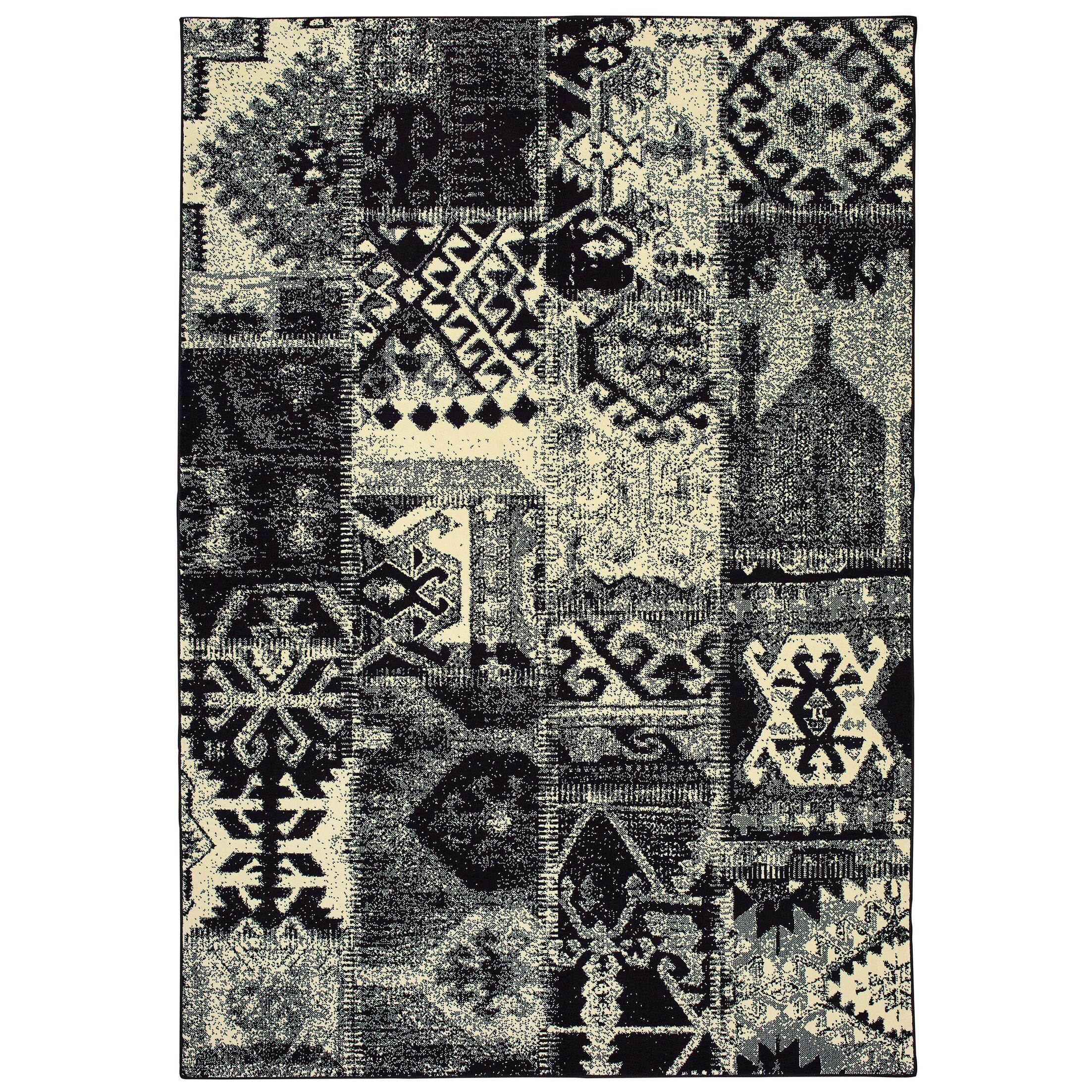 Hedden Tribal Black/Ivory Area Rug Rug Size: Rectangle 2'3