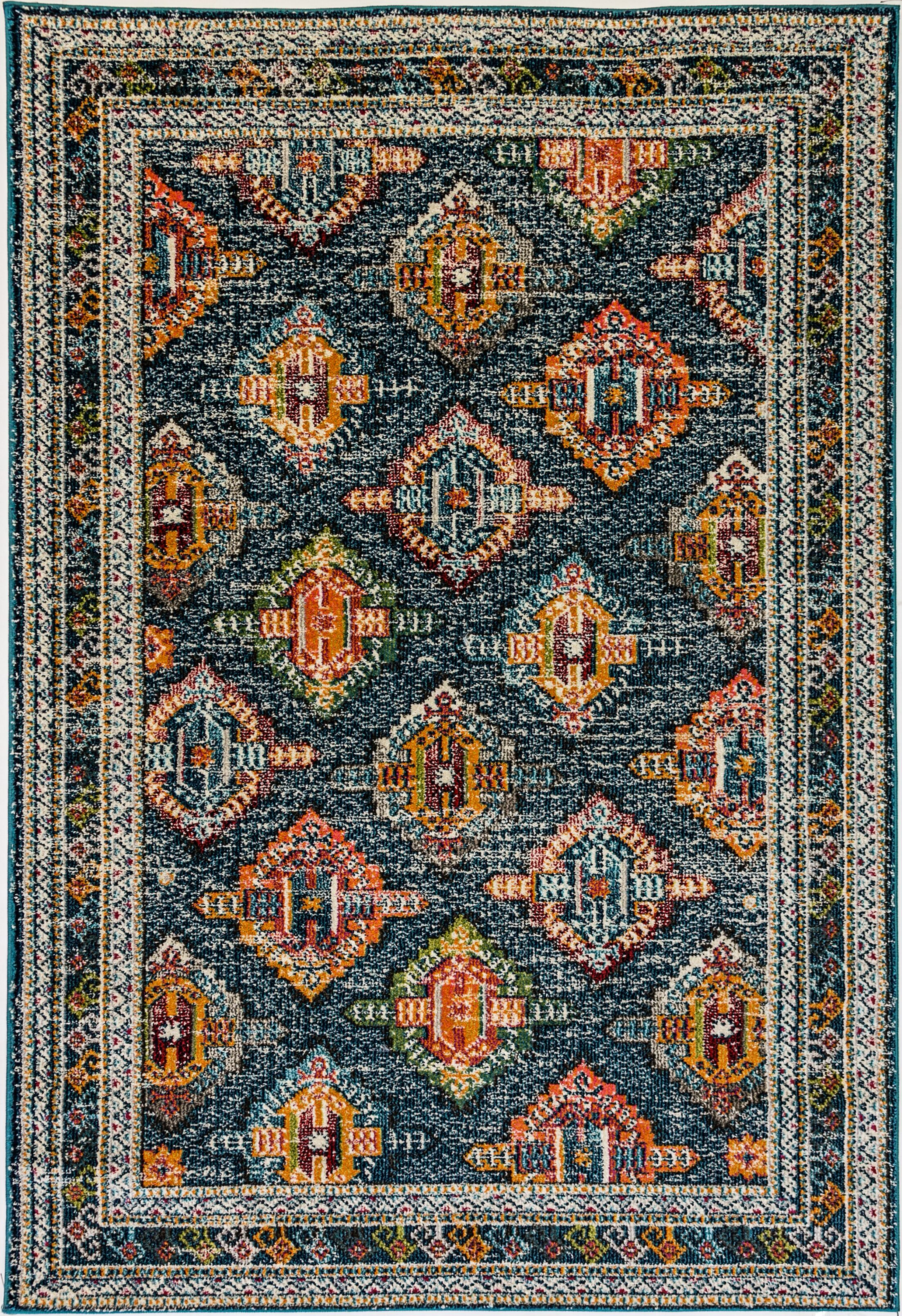 Corson Blue/Orange Area Rug Rug Size: Rectangle 7'10