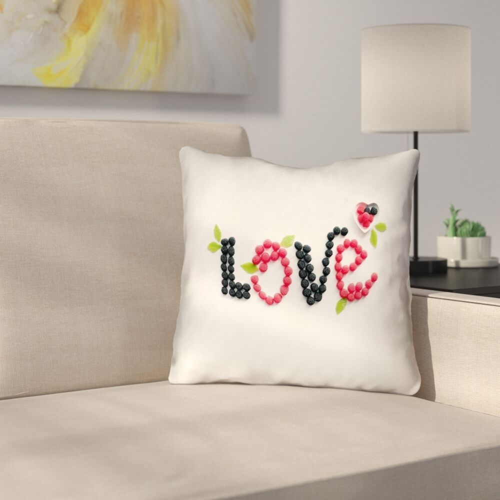 Buoi Love and Berries Square Outdoor Throw Pillow Size: 20