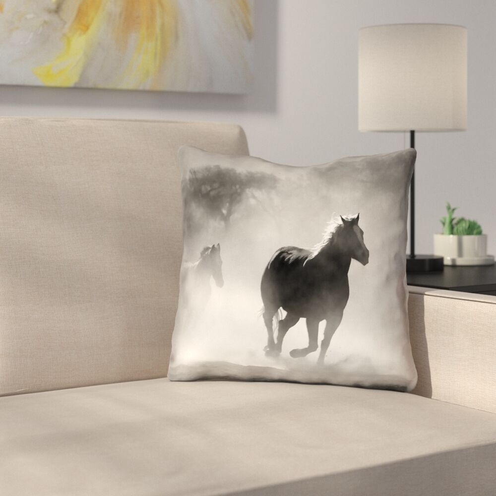Aminata Galloping Horses Square Outdoor Throw Pillow Size: 20