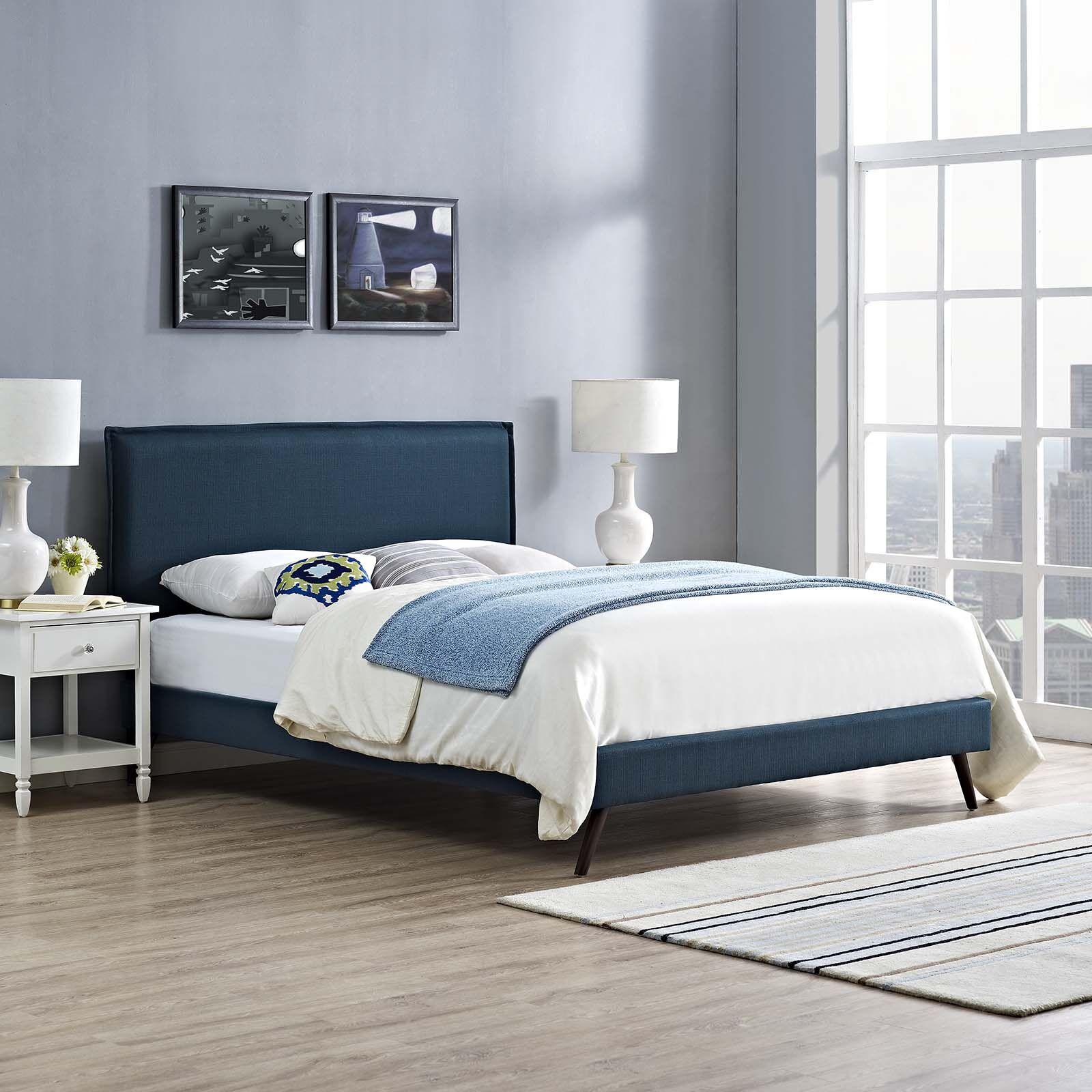 Craighead Upholstered Platform Bed Color: Azure, Size: King