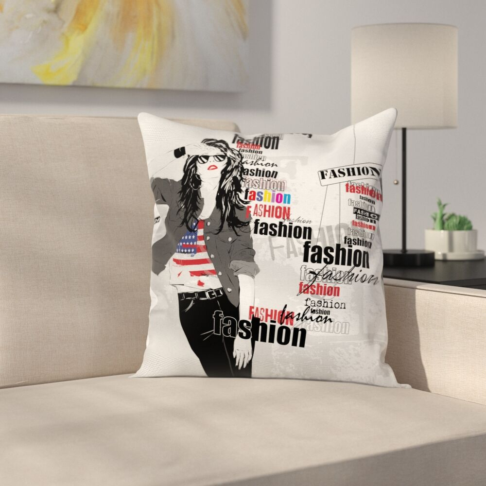 Girls Room Decor Fashion Lady Square Pillow Cover Size: 24