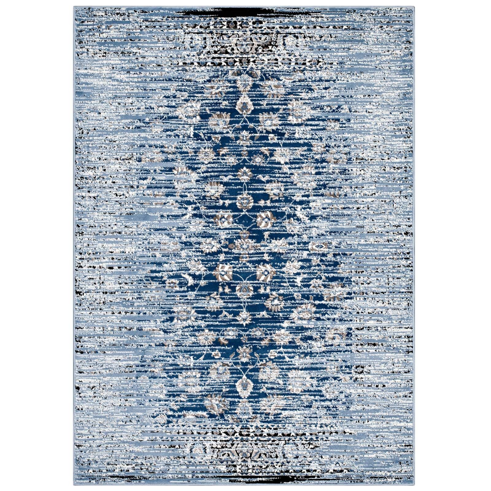 Crader Distressed Floral Lattice Contemporary Morrocan Blue Area Rug Rug Size: 5' x 8'