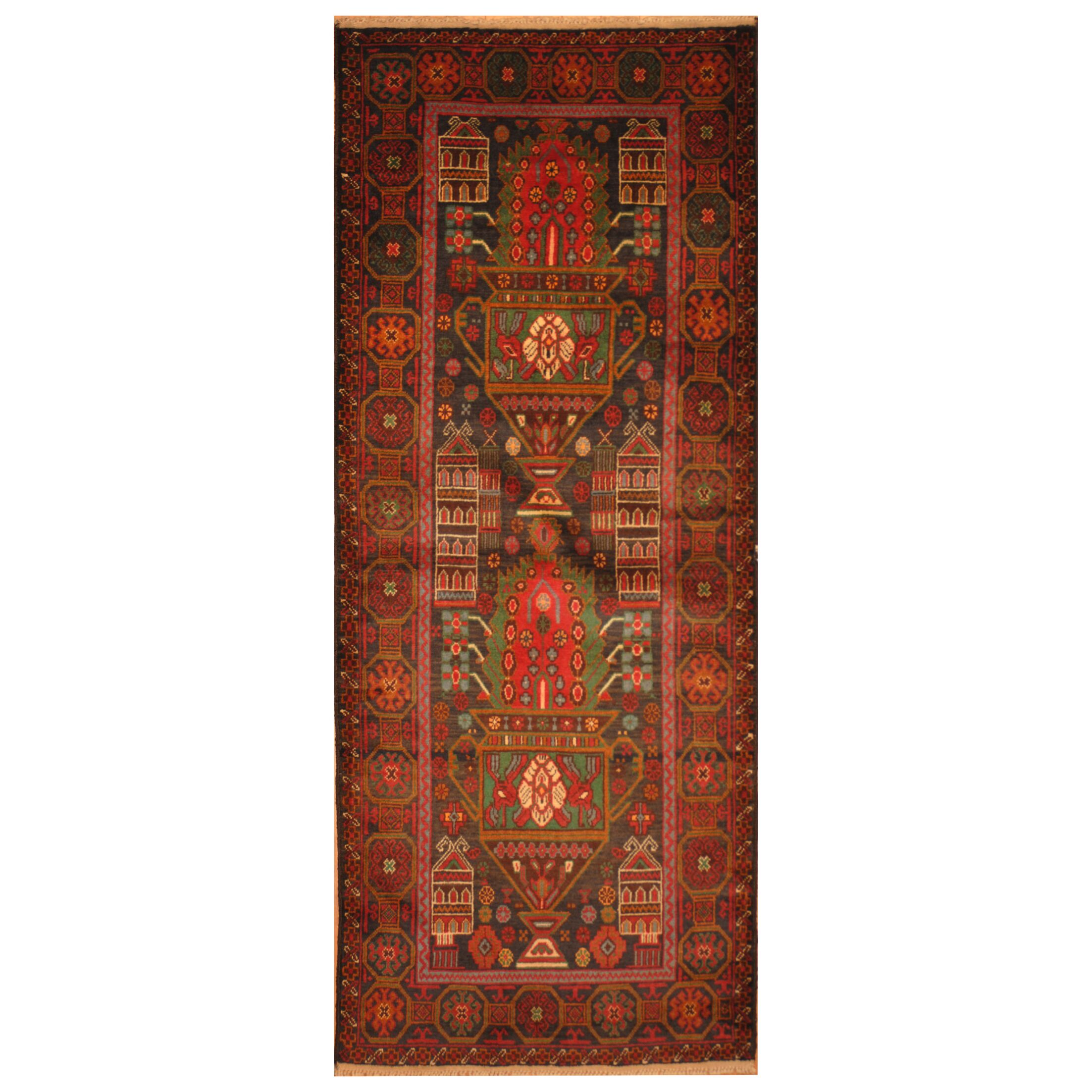 One-of-a-Kind Prentice Hand-Knotted Wool Navy/Red Area Rug