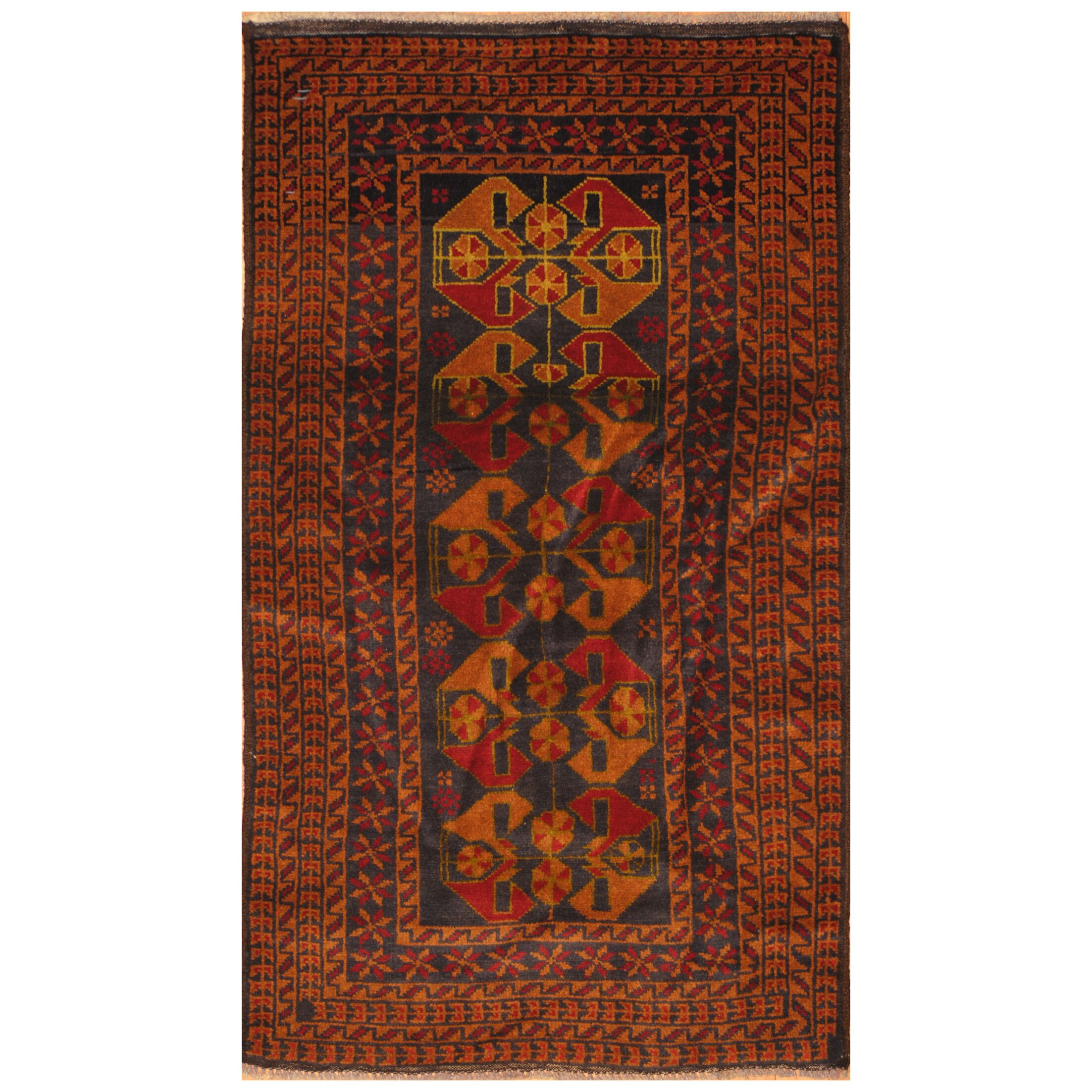 One-of-a-Kind Prentice Hand-Knotted Wool Navy/Tan Area Rug
