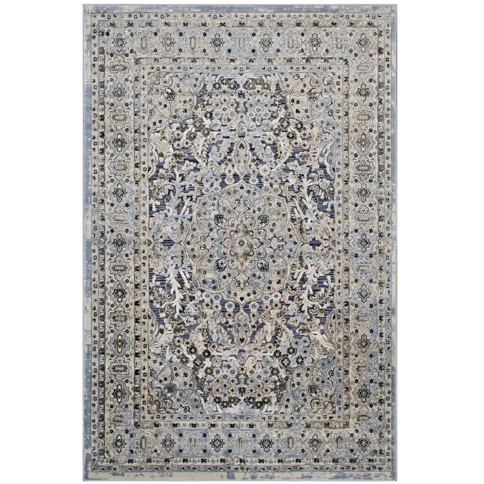 Prevost Ornate Vintage Floral Turkish Blue/Cream Area Rug Rug Size: 8' x 10'