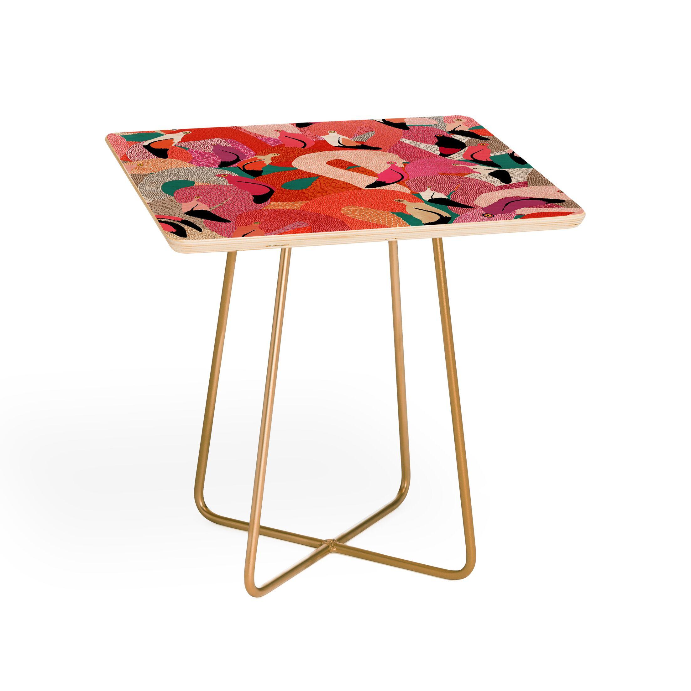 Ruby Door Flamingo Flock End Table