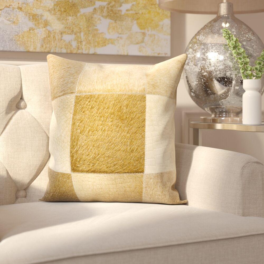 Sulphur Leather Throw Pillow Color: Beige