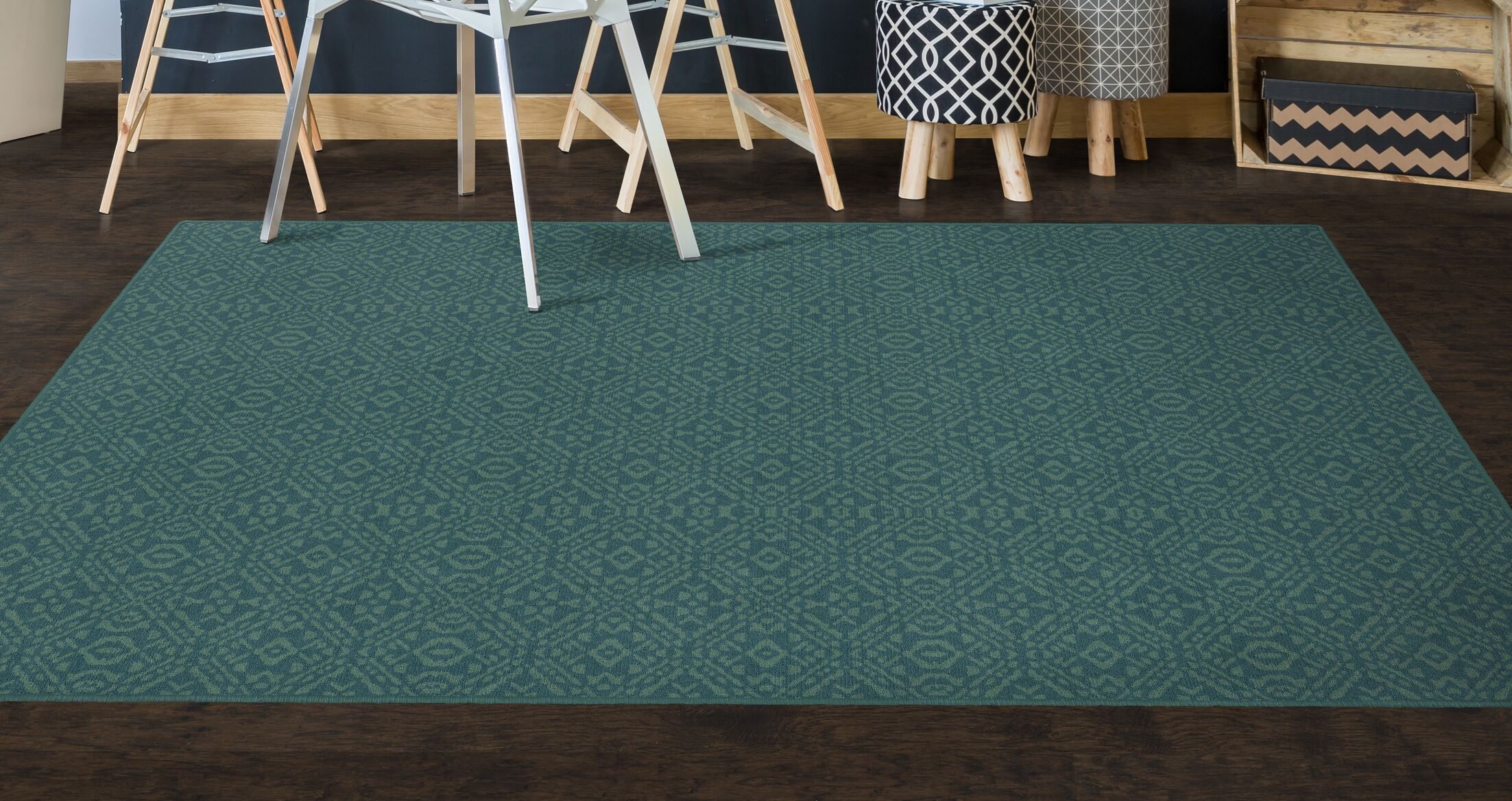 Cragin Teal Area Rug Rug Size: Rectangle 7'6