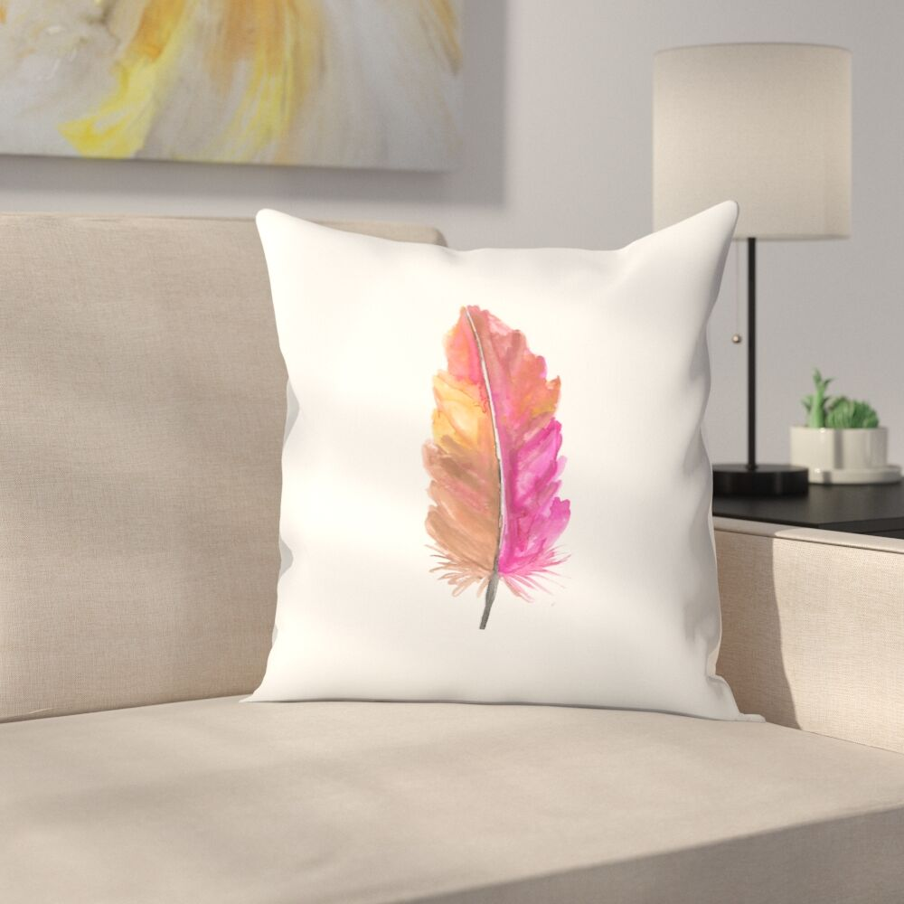 Jetty Printables Watercolor Feather Throw Pillow Size: 14