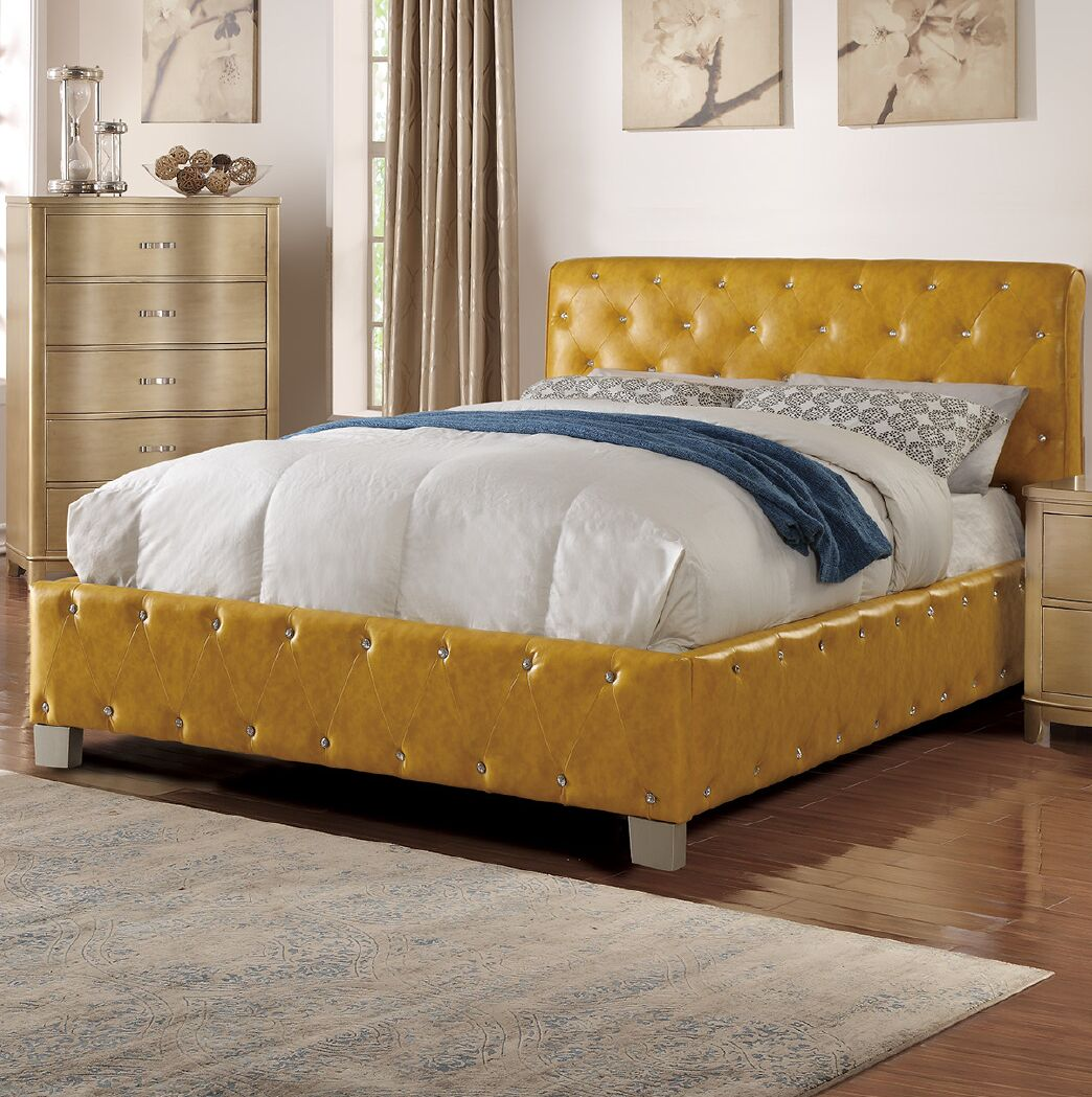 Kingsview Upholstered Platform Bed Size: King, Color: Mustard