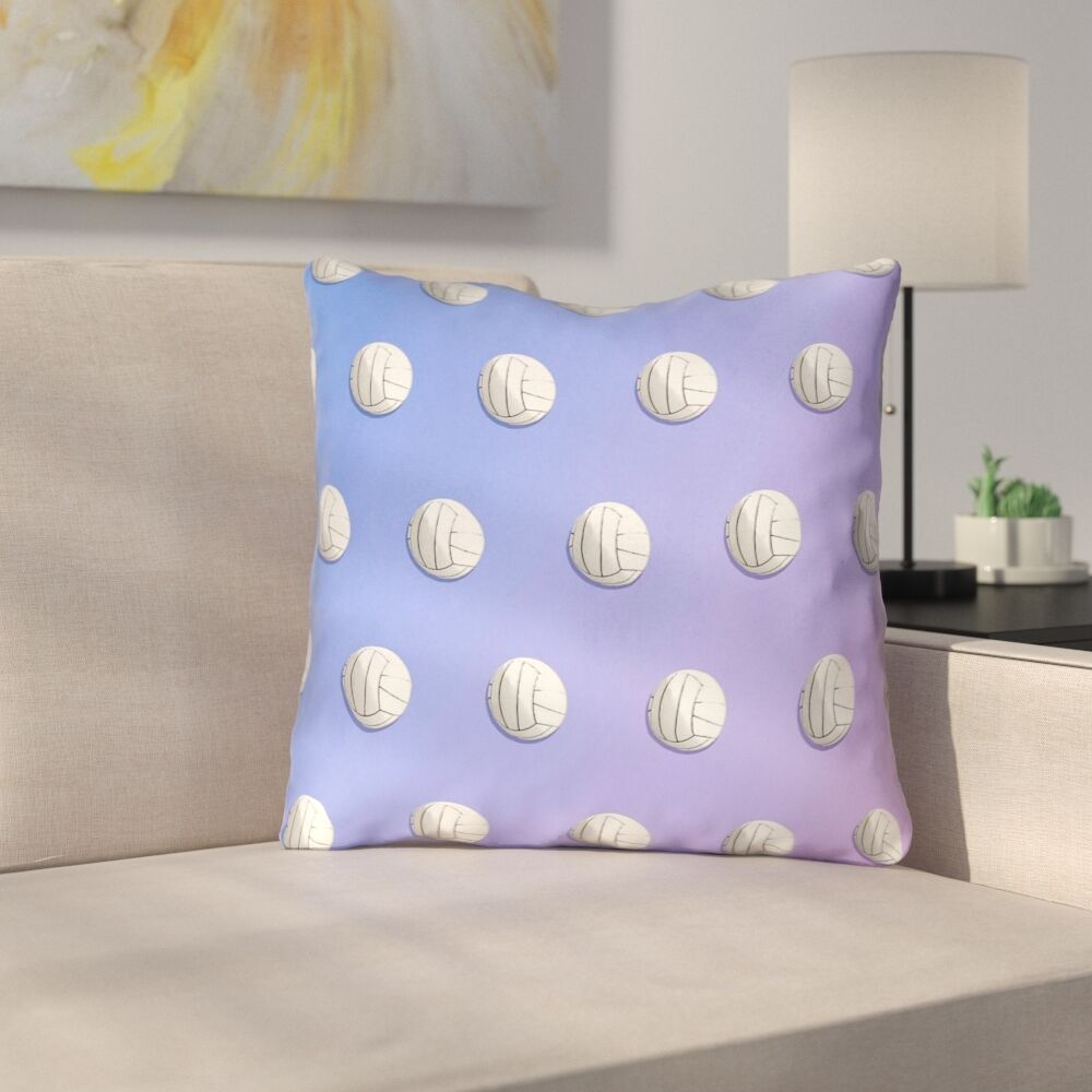 Double Side Print Volleyballs Throw Pillow Size: 18