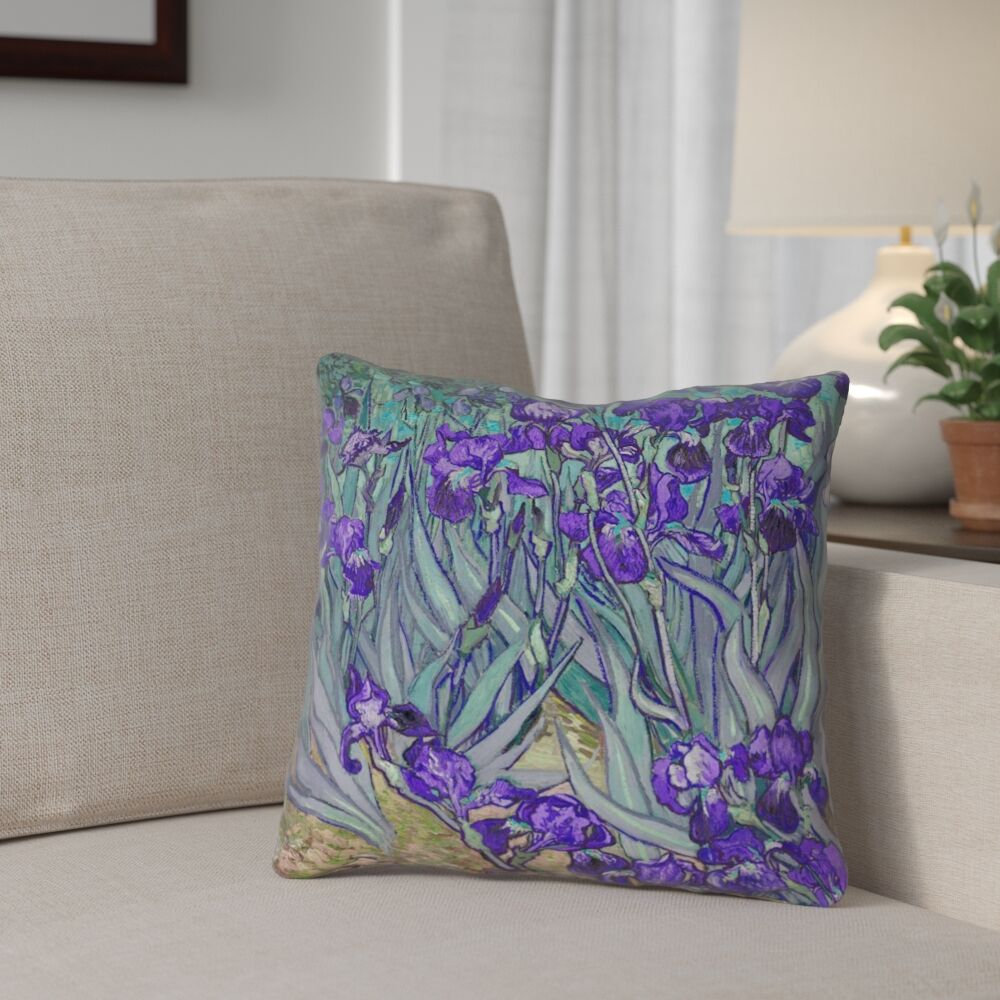 Morley Irises Double Sided Print Pillow Cover Size: 18