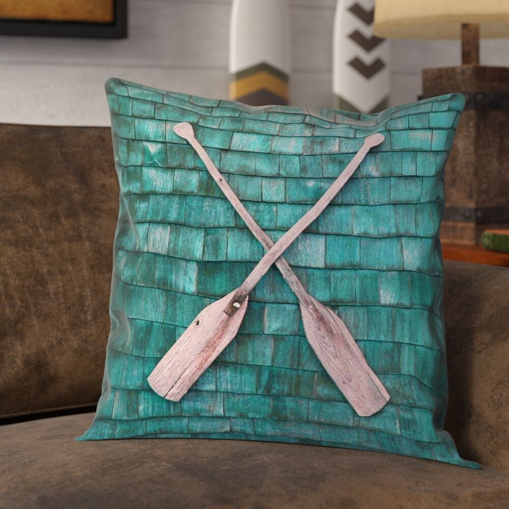 Brushton Rustic Oars Pillow Cover with Zipper Size: 16