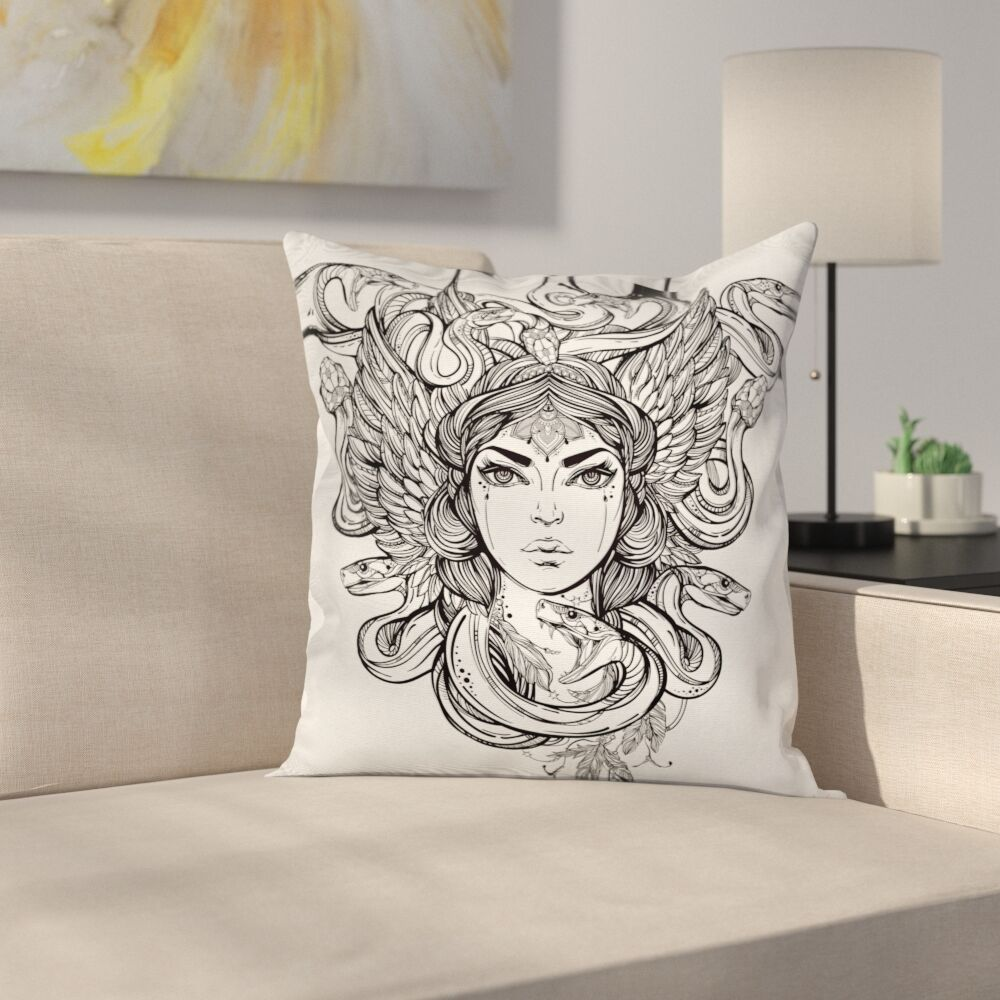 Fabric Sketch Tribal Mythical Square Pillow Cover Size: 20
