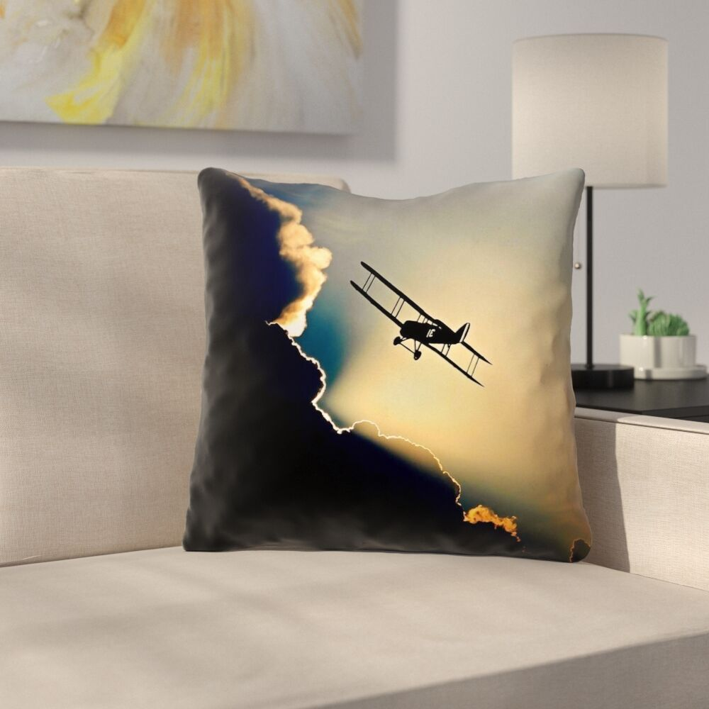 Plane in the Clouds Throw Pillow Size: 14