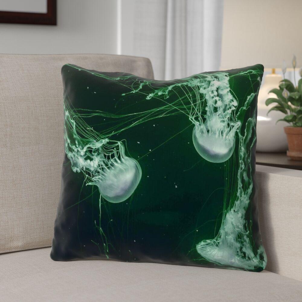Carmina Smith Jellyfish Linen Throw Pillow Size: 18
