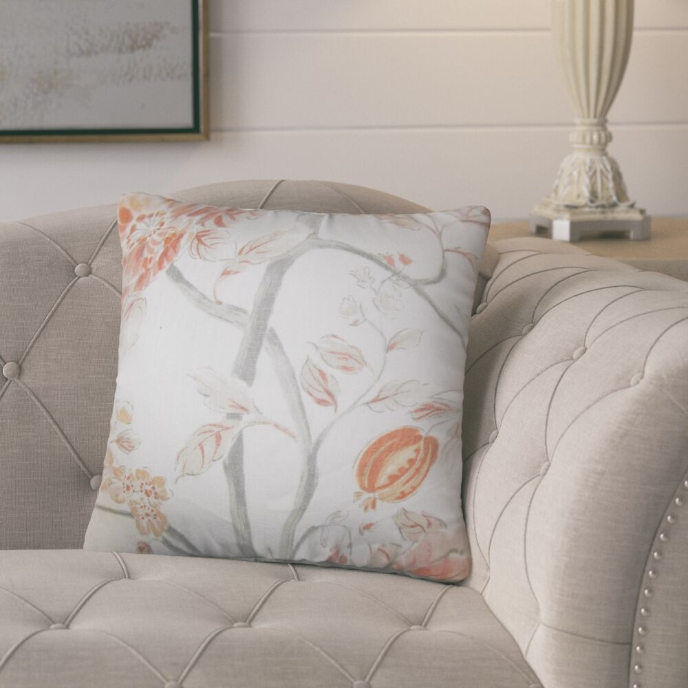 Politte Floral Linen Throw Pillow Color: Orange