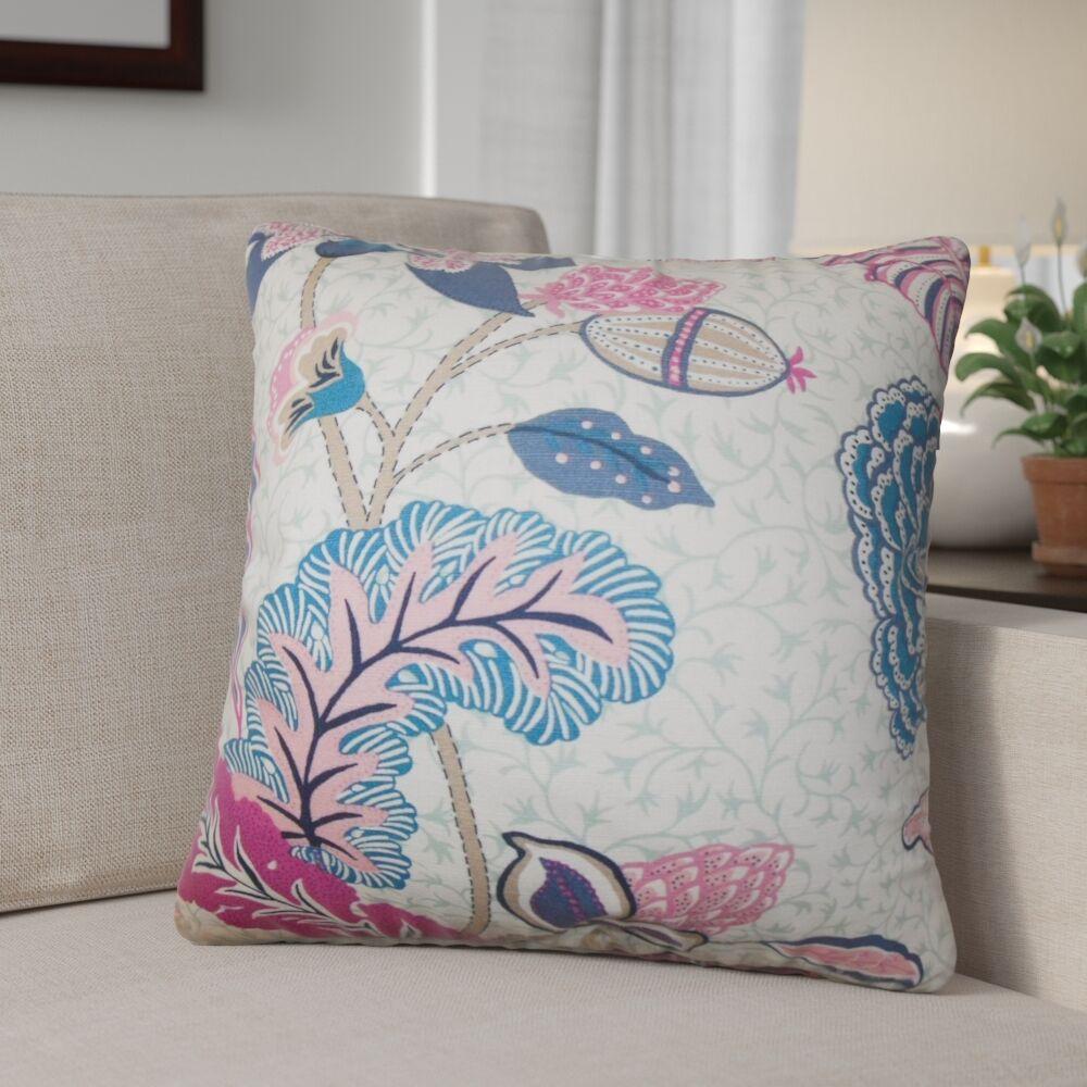 Tiara Floral Cotton Throw Pillow Color: Pink