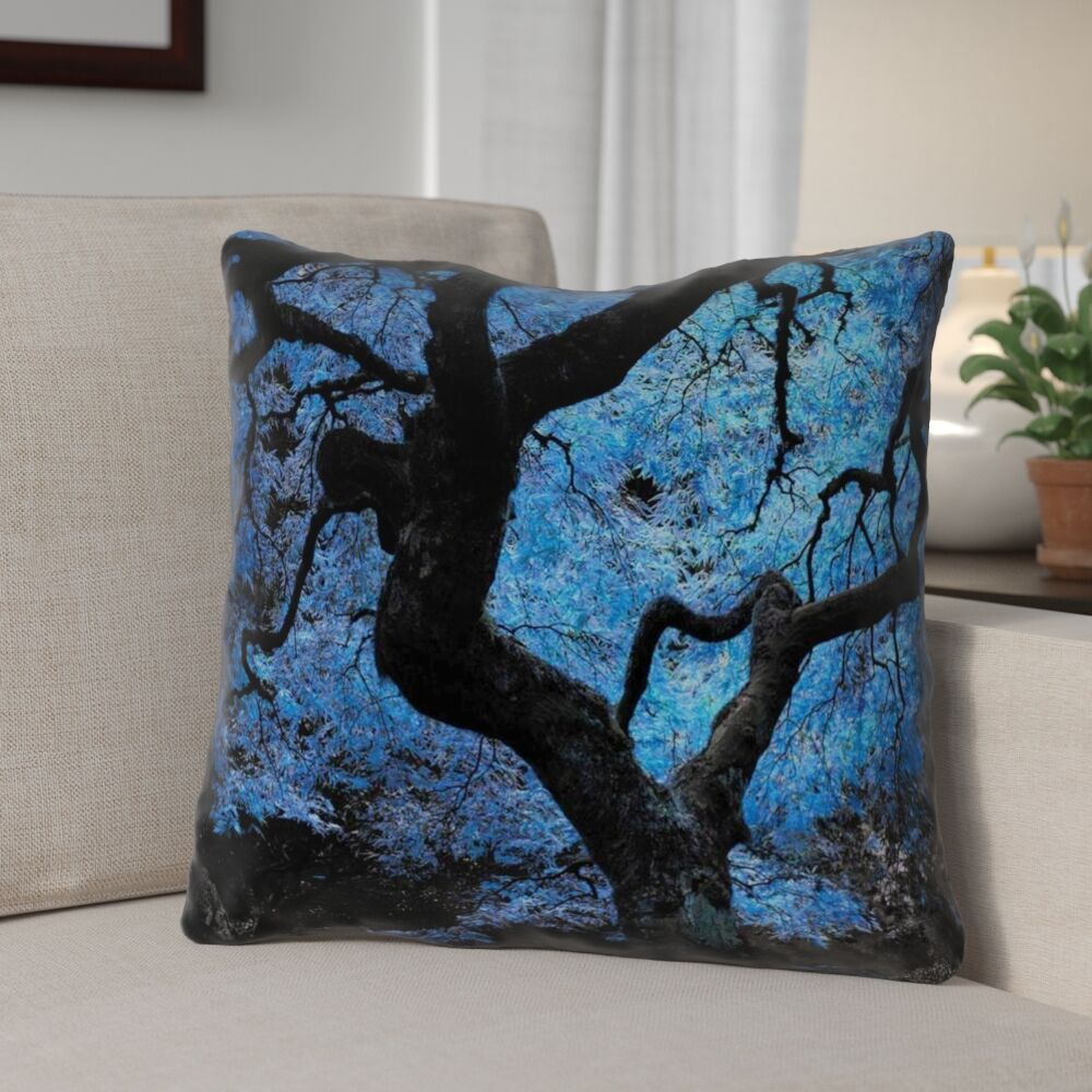Ghost Train Japanese Maple Tree Faux Leather Throw Pillow Size: 14