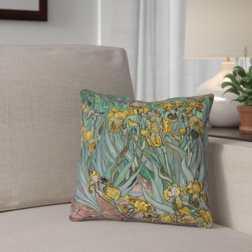Bristol Woods Irises Throw Pillow Size: 16
