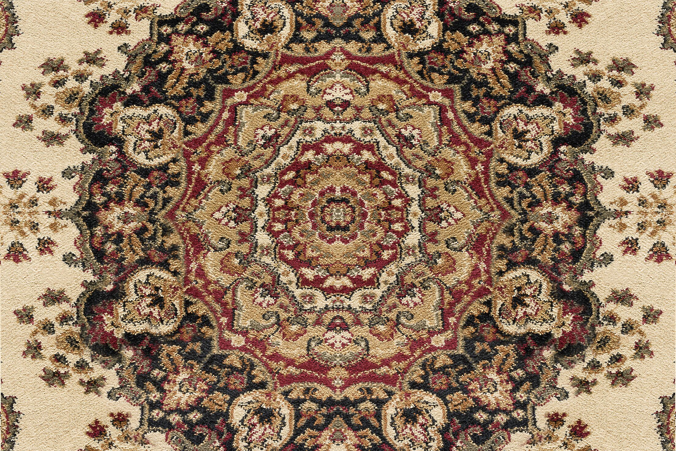 Clarence Ivory/Red Area Rug Rug Size: 2'3'' x 10'