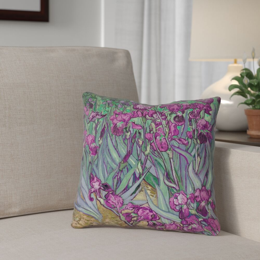 Morley Irises Double Sided Print Square Pillow Cover Size: 20