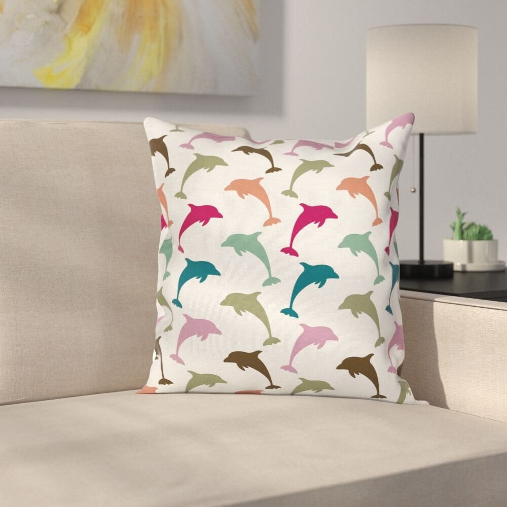 Animal Colorful Dolphins Art Square Pillow Cover Size: 24