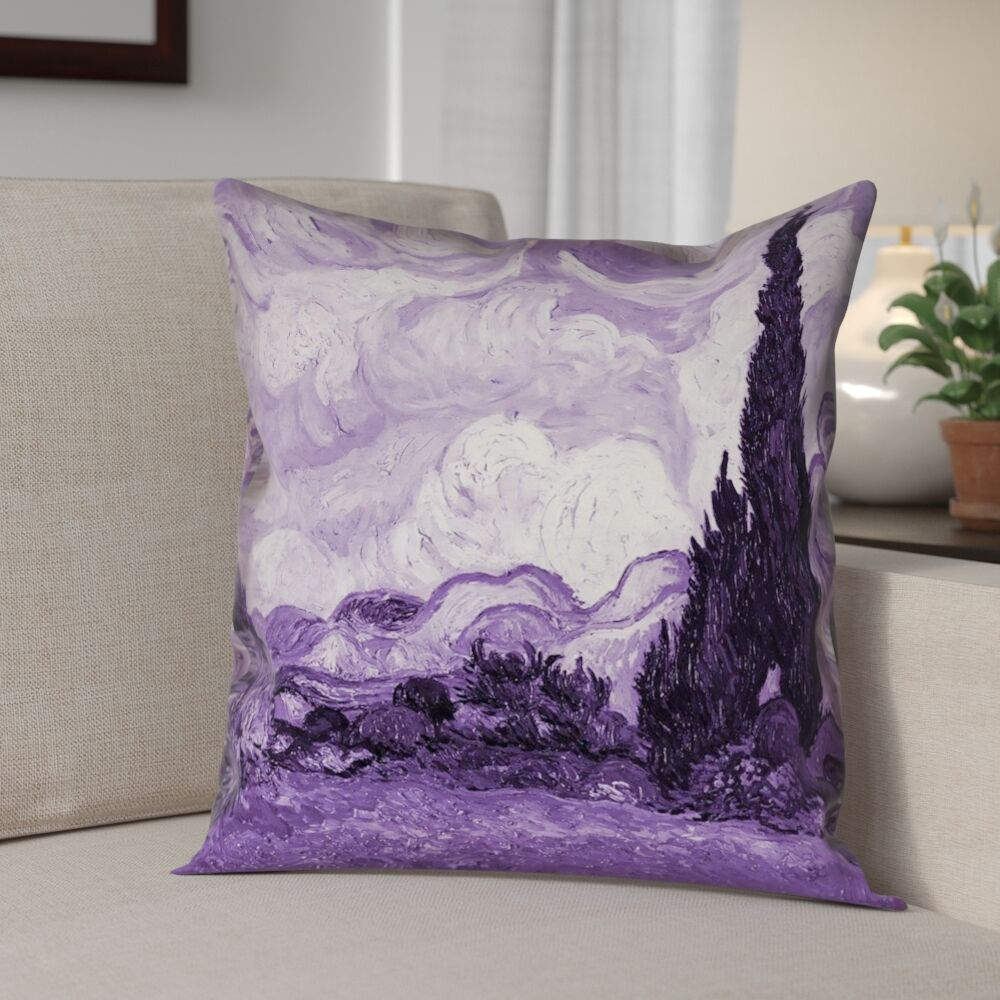 Lapine Wheatfield with Cypresses Square Linen Pillow Cover Size: 20