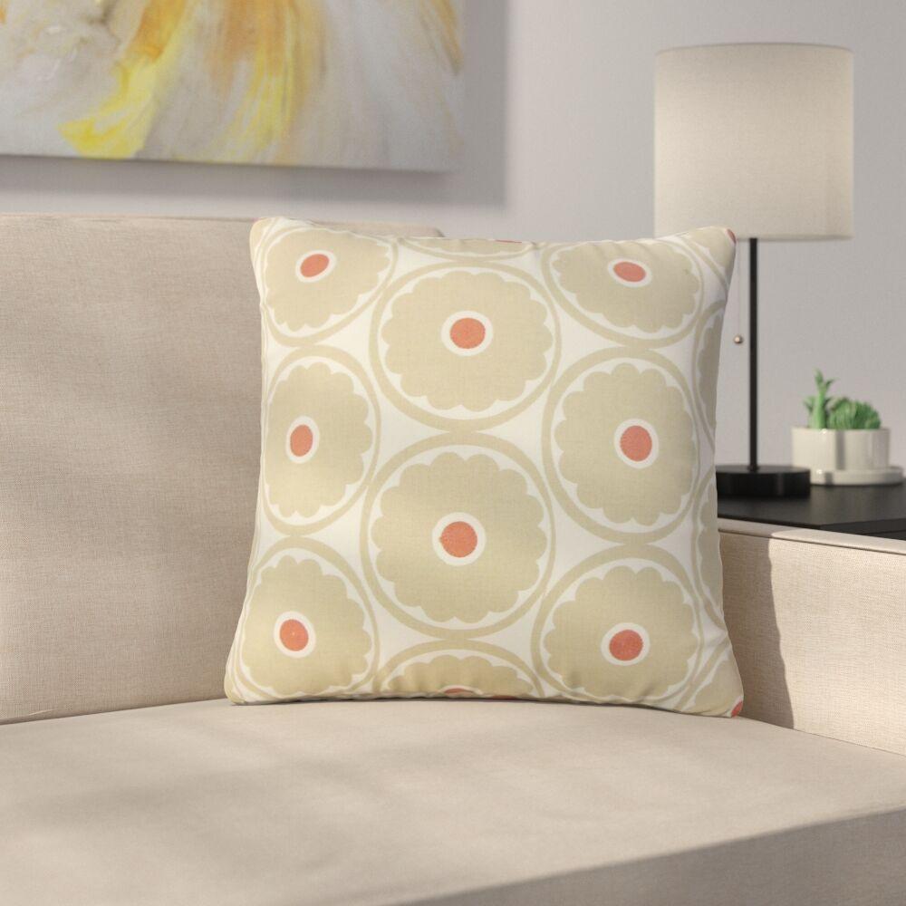 Stutler Floral Cotton Throw Pillow Color: Brown
