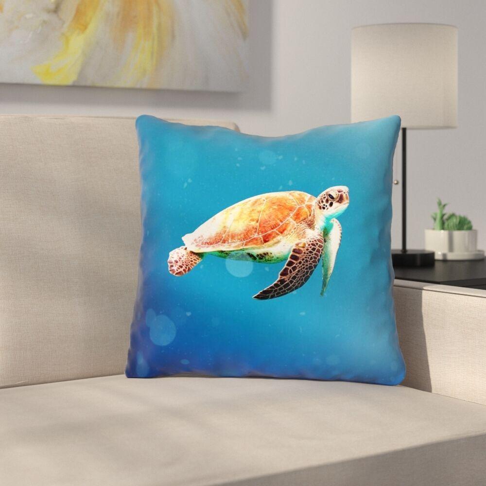 Sea Turtle Linen Throw Pillow Size: 14