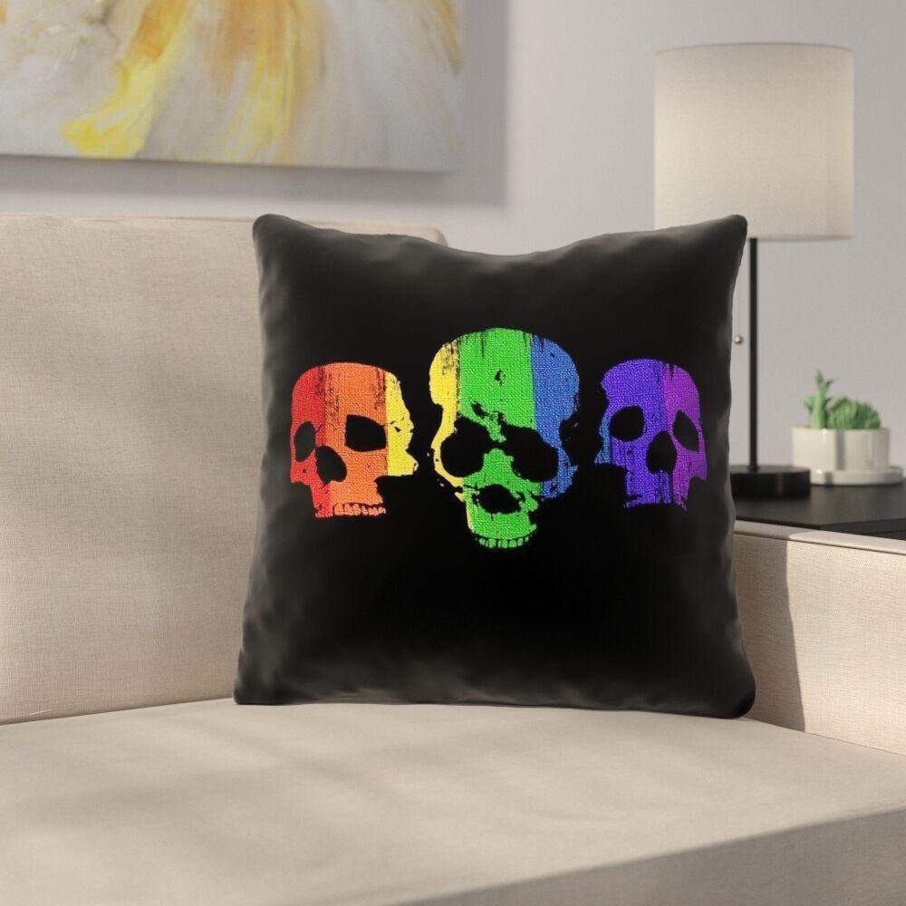 Rainbow Skulls Square Indoor Throw Pillow Size: 18