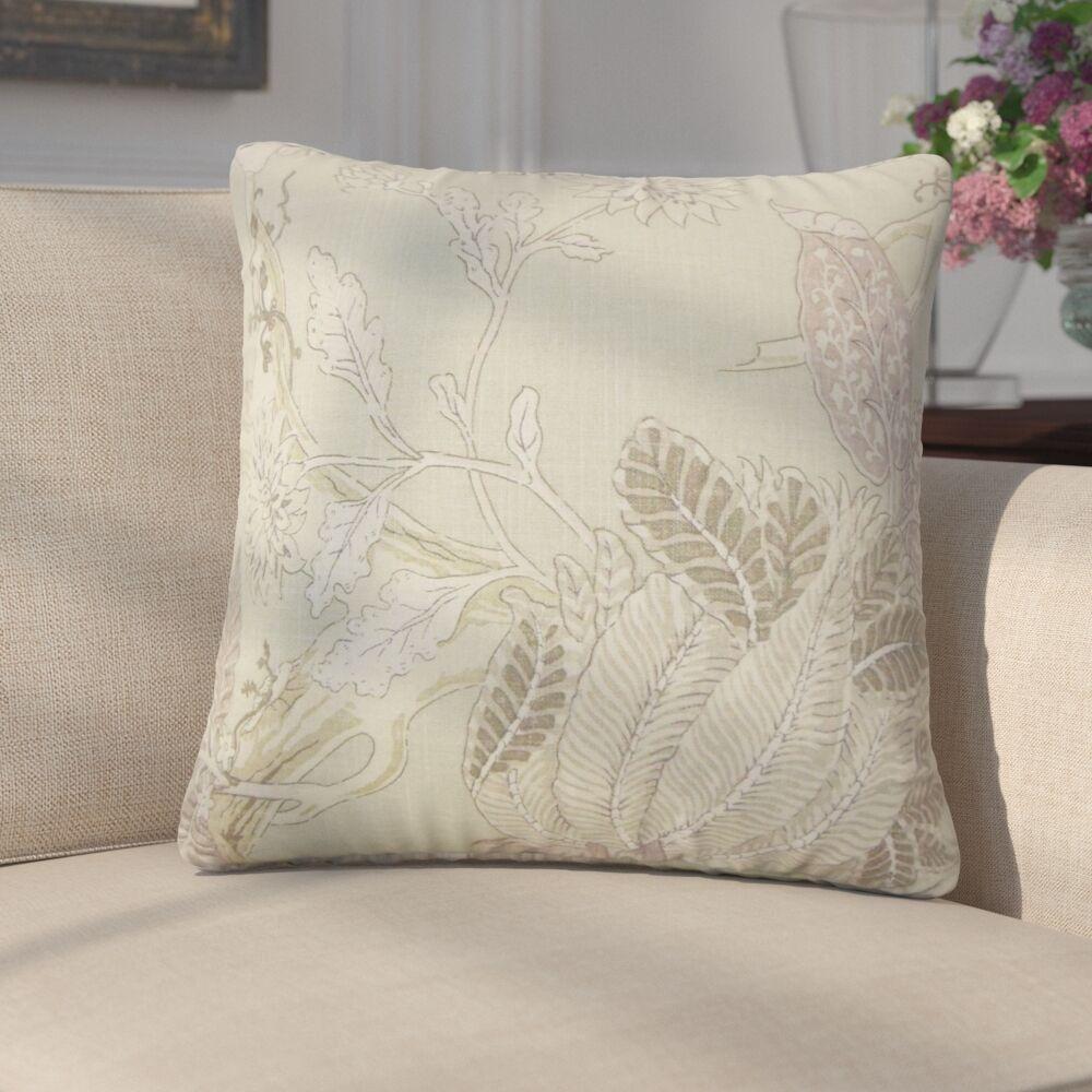 Ghita Floral Linen Throw Pillow Color: Seaglass