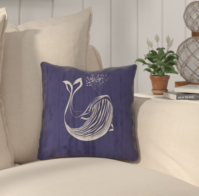 Lauryn Whale Throw Pillow with Zipper Size: 18