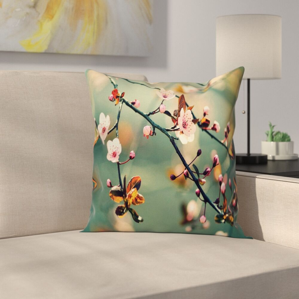 Japanese Cherry Sakuras Cushion Pillow Cover Size: 18