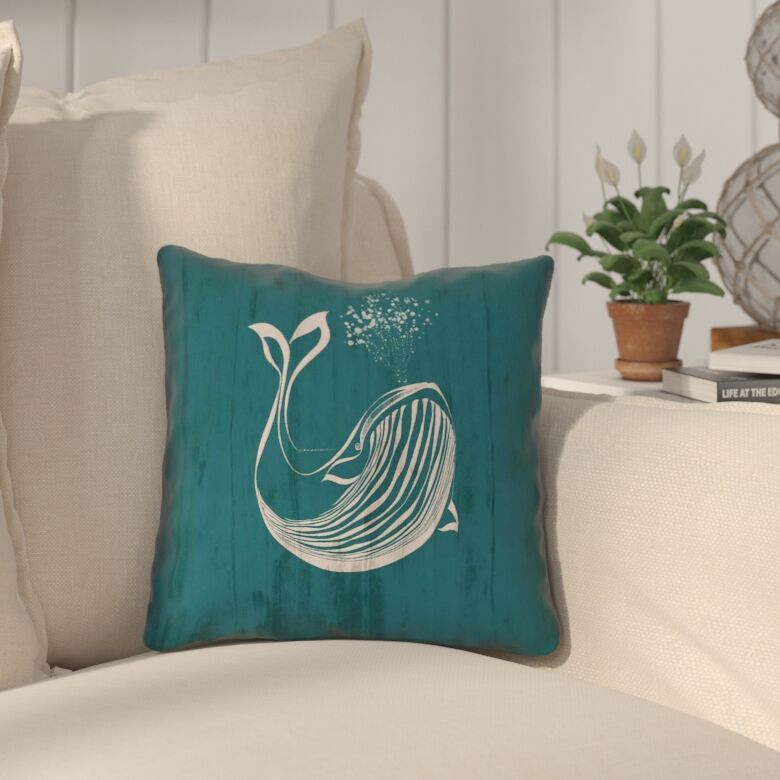 Lauryn Rustic Whale Double Sided Print Throw Pillow Size: 18