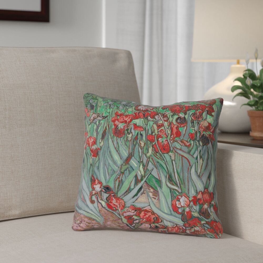Morley Irises Square 100% Cotton Pillow Cover Size: 16