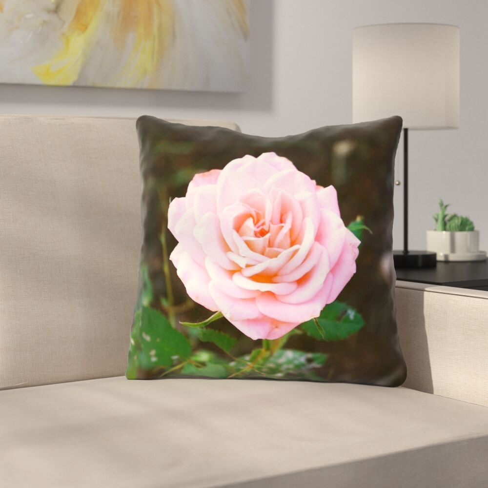 Rose Outdoor Throw Pillow Size: 16