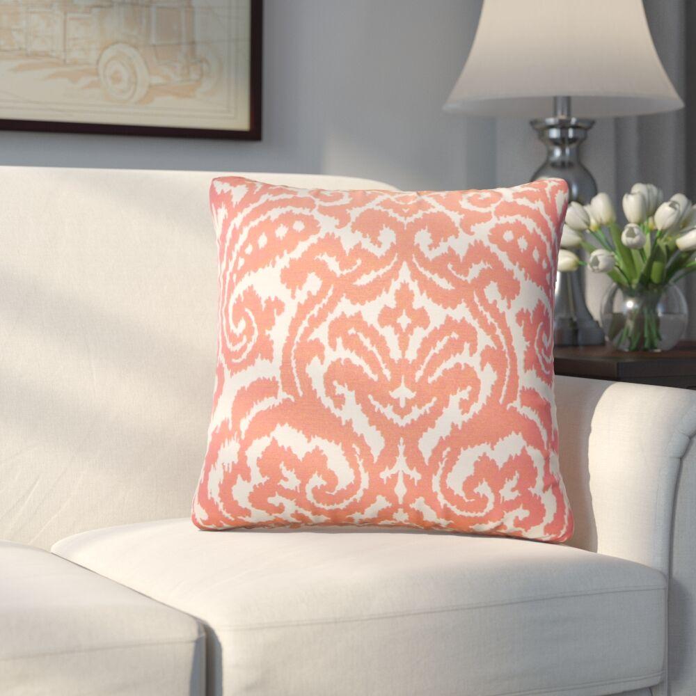 Millington Ikat Cotton Throw Pillow Color: Coral