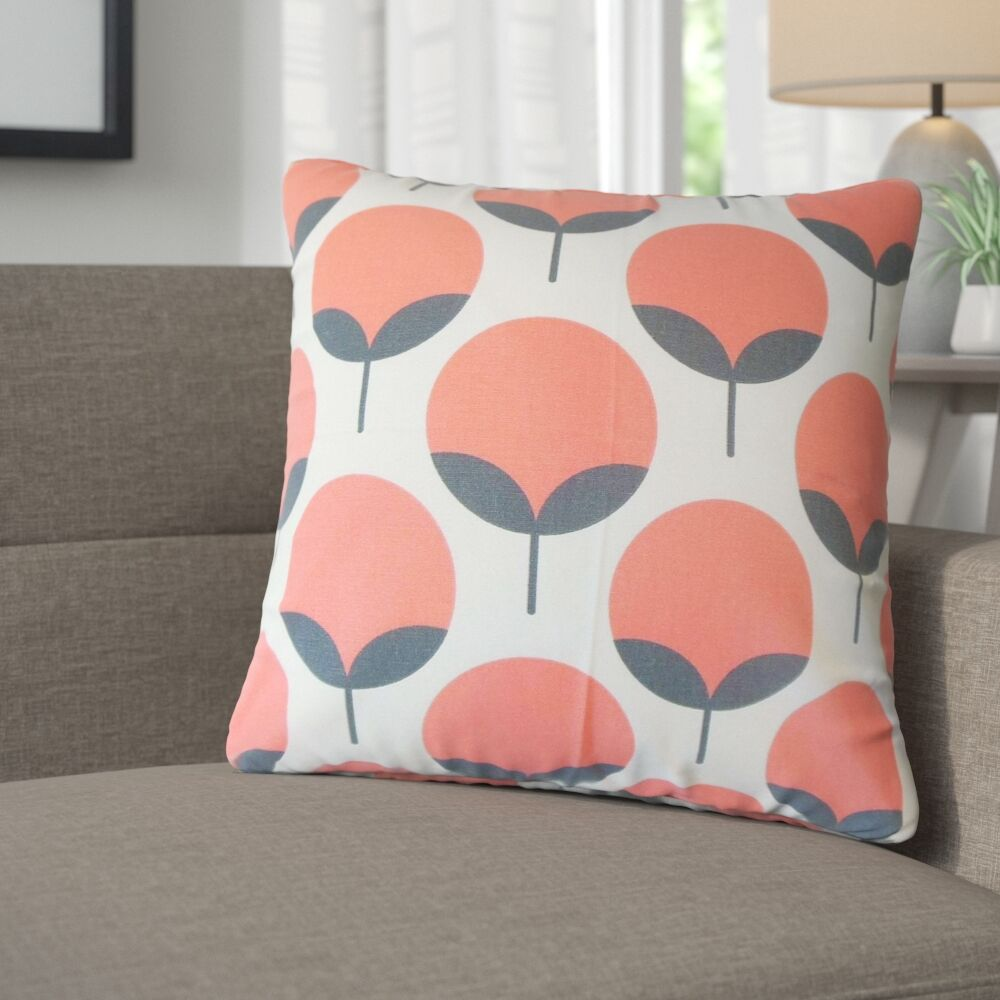 Renata Geometric Cotton Throw Pillow Color: Salmon