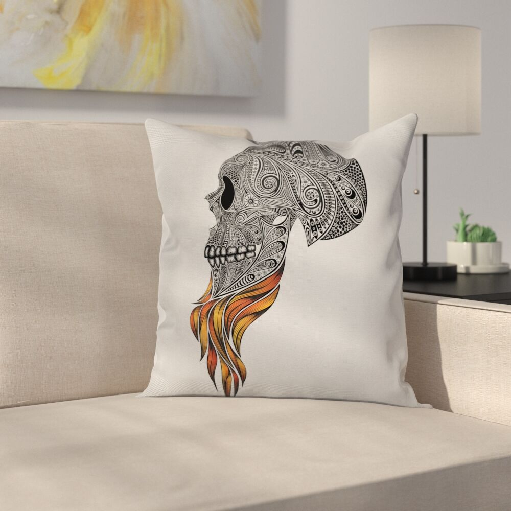 Abstract Art Skull Beard Square Cushion Pillow Cover Size: 20