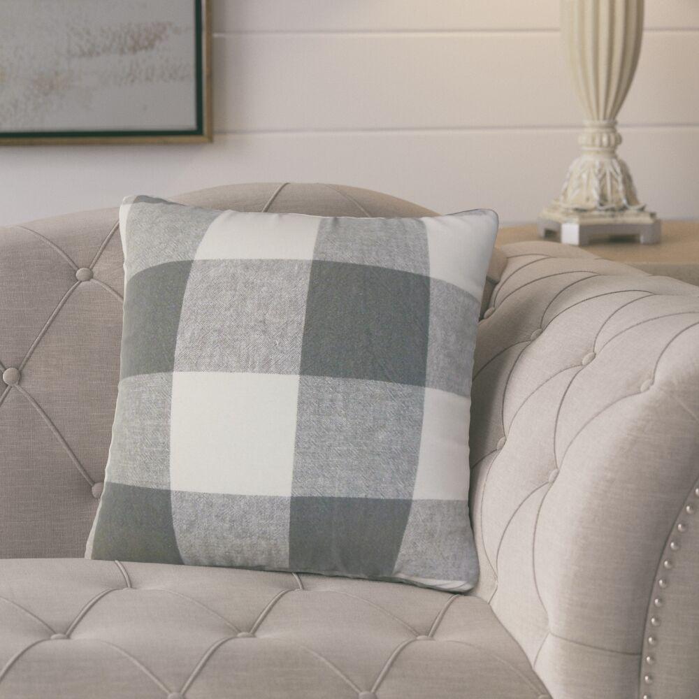Porath Plaid Linen Throw Pillow Color: Gray