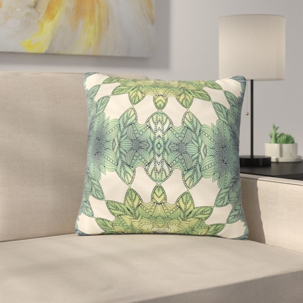 Art Love Passion Forest Leaves Celtic Abstract Outdoor Throw Pillow Size: 18