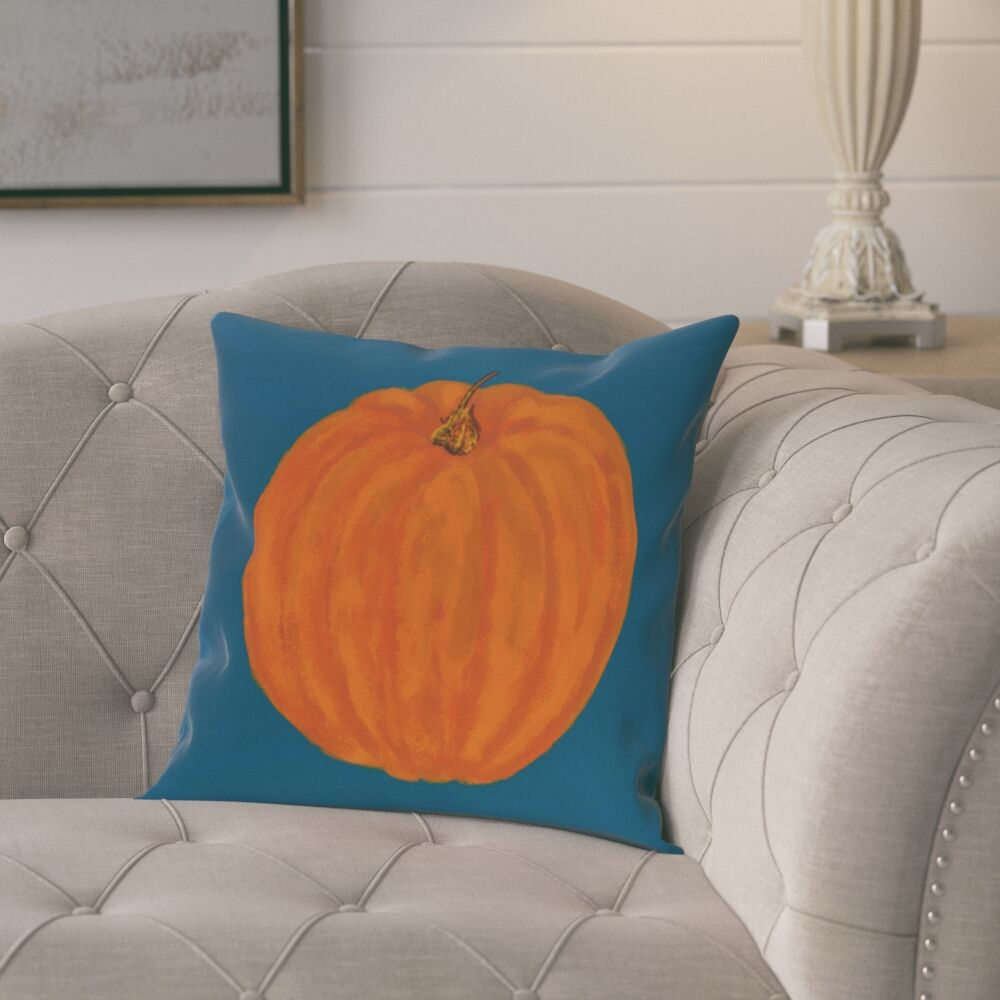 Roslindale Pumpkin Holiday Print Throw Pillow Size: 16