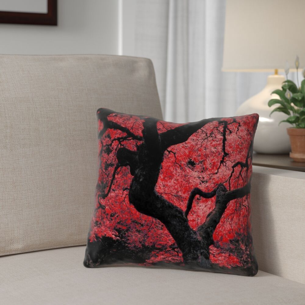 Ghost Train Japanese Maple Tree Linen Throw Pillow Size: 26