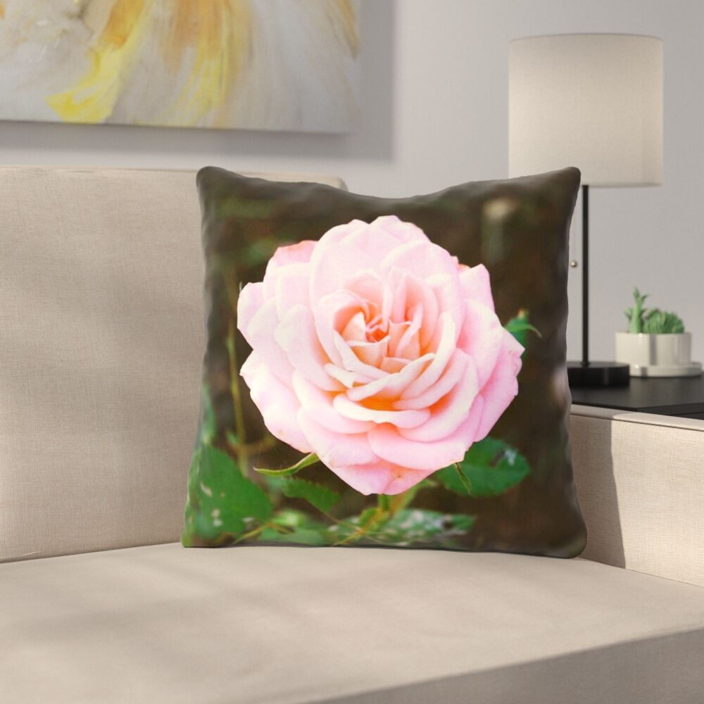 Rose Square Throw Pillow Size: 14