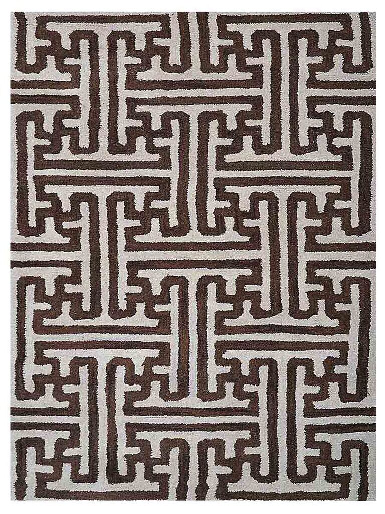 Freida Geometric Hand-Tufted Wool Cream/Brown Area Rug Rug Size: Rectangle 5' x 8'