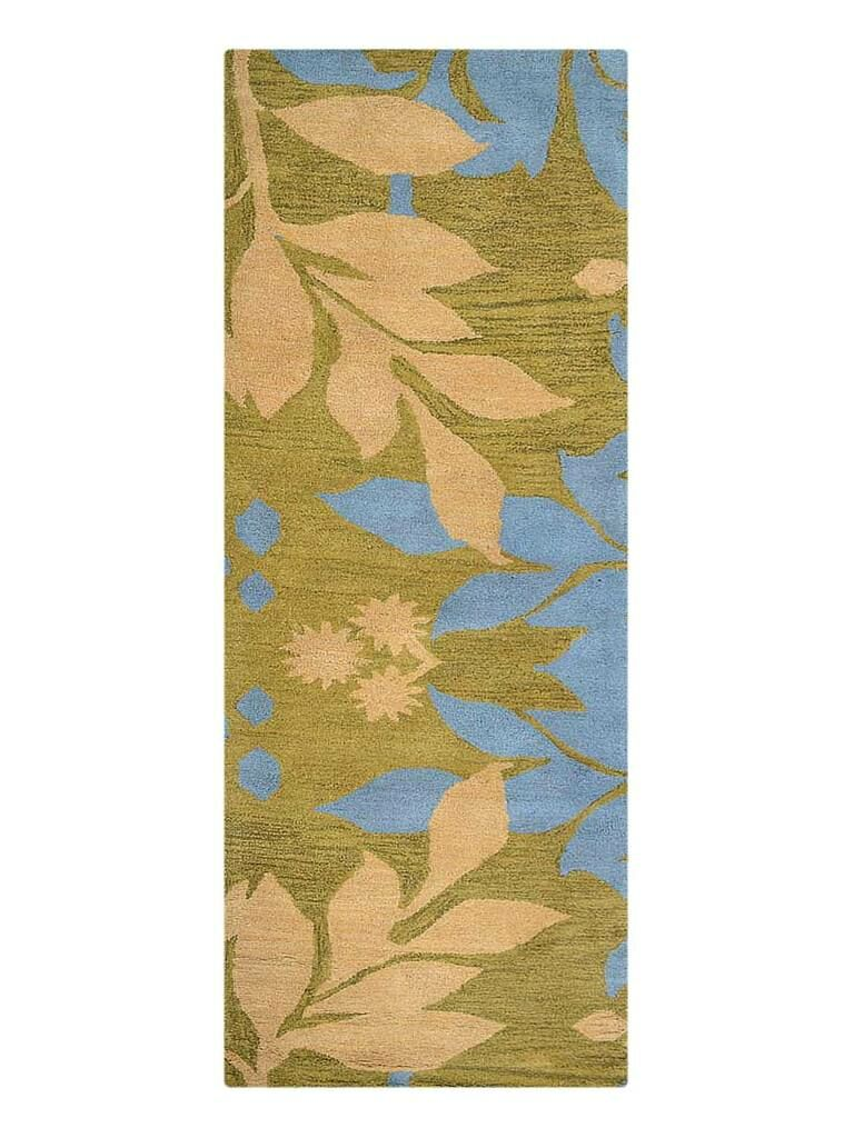 Campas Floral Hand-Tufted Wool Green Area Rug Rug Size: Runner 2'6